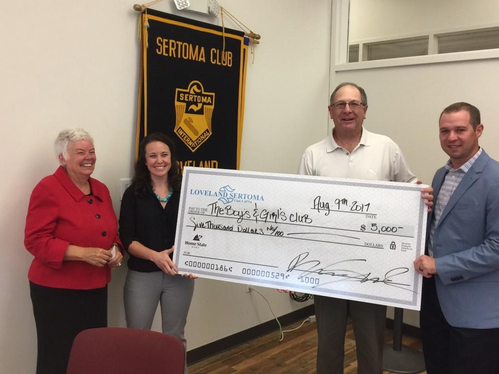 Loveland Sertoma Donates $5000 to Larimer County Boys and Girls Club